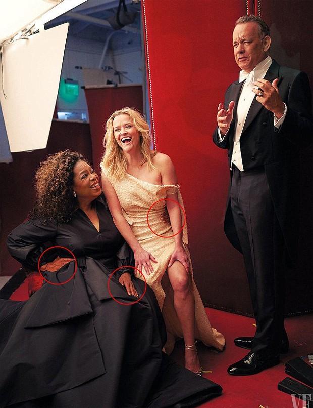 Oprah Winfrey e Reese Witherspoon com Tom Hanks